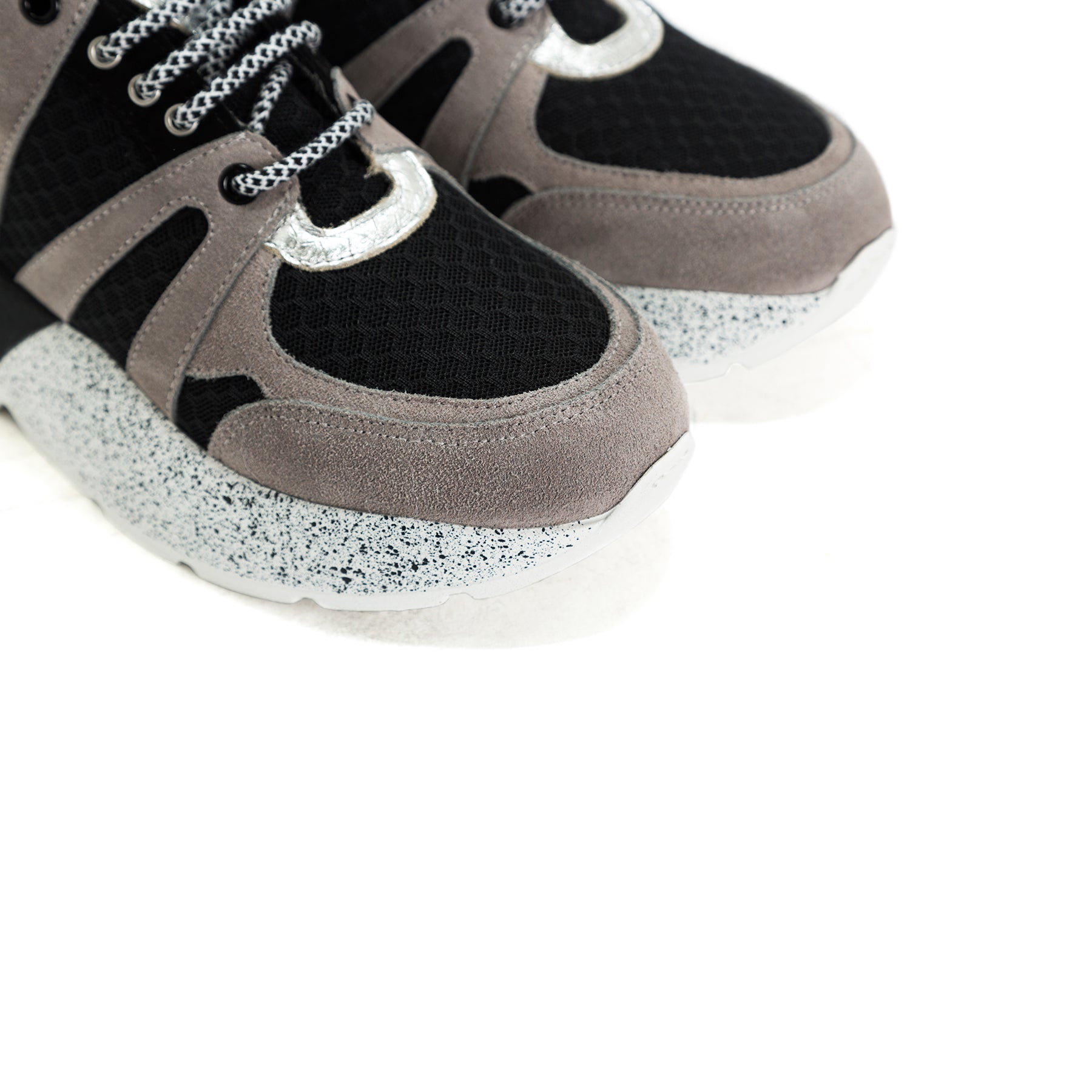 Star Black&Grey Combo Leather Sneakers