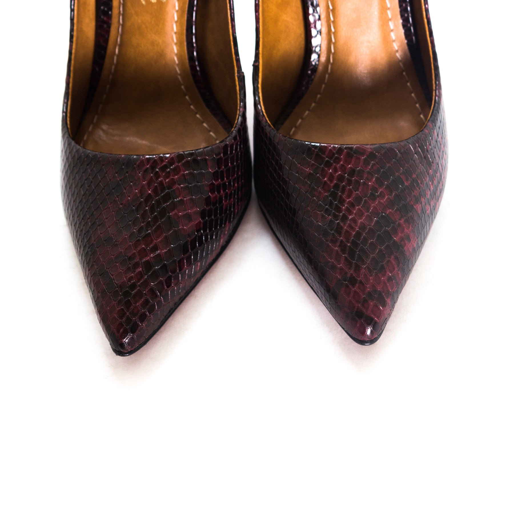 Teeva Burgundy Snake Leather Pumps