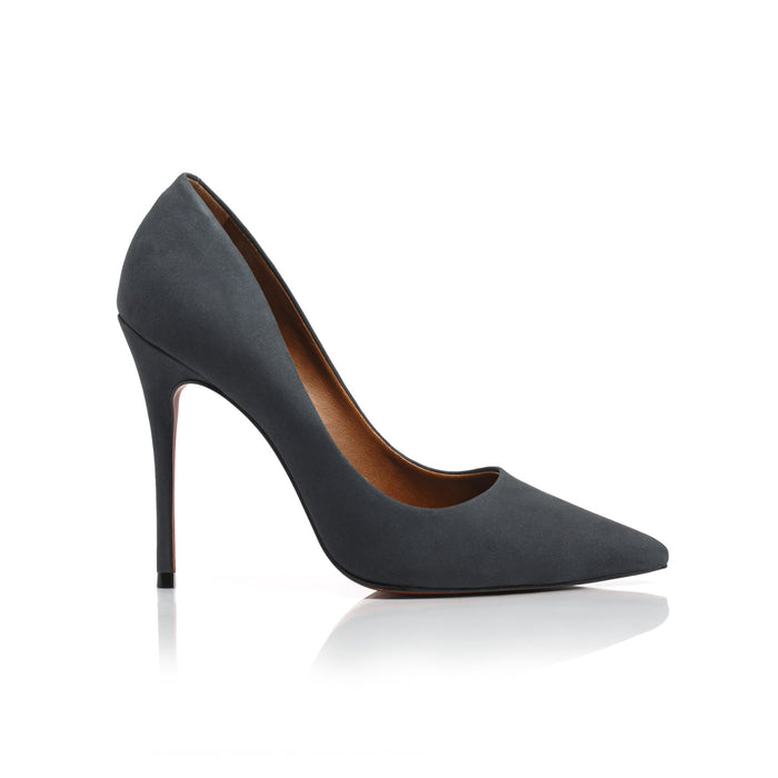 Teeva Dark Grey Nubuck Pumps