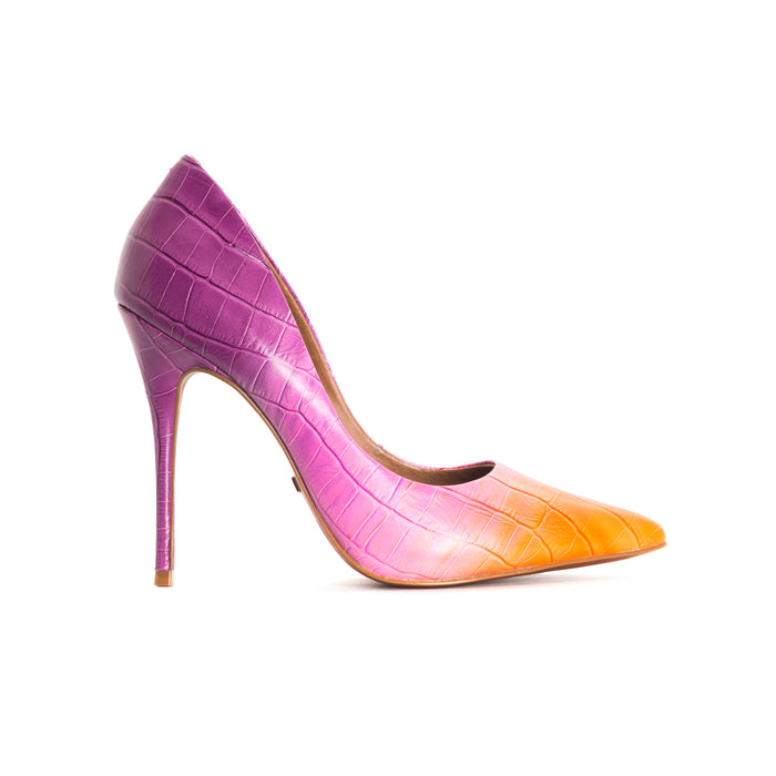 Teeva Purple Croco Leather Pumps