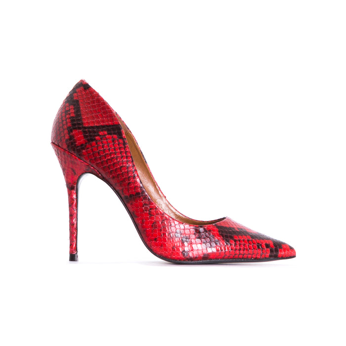 Teeva Red Snake Leather Pumps