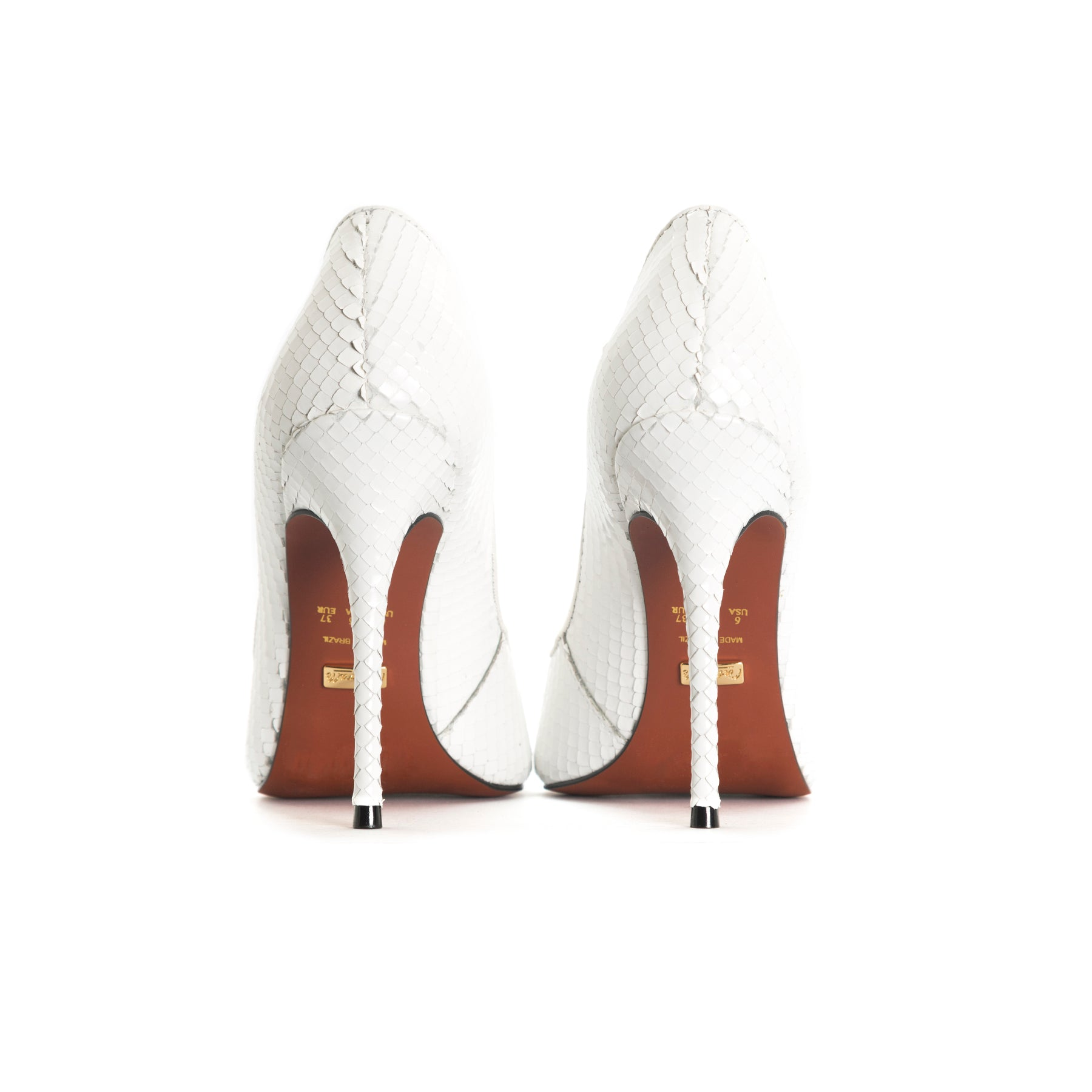 Teeva White Snake Leather Pumps