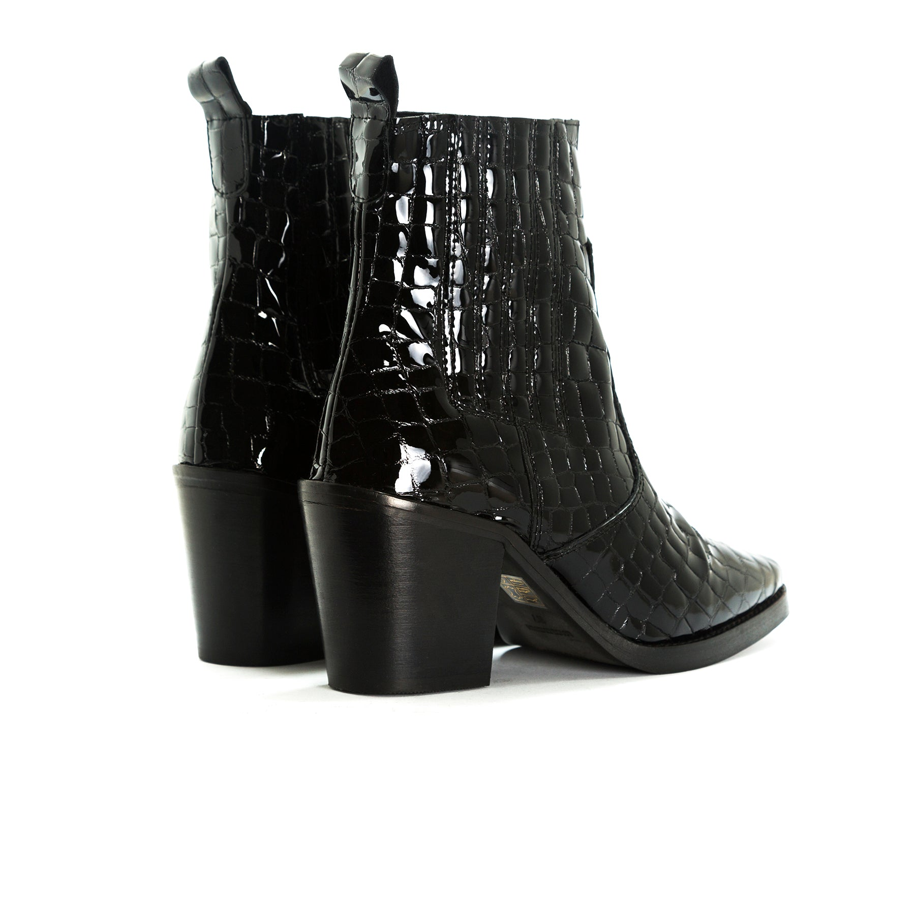 Valentina Black Croco Booties