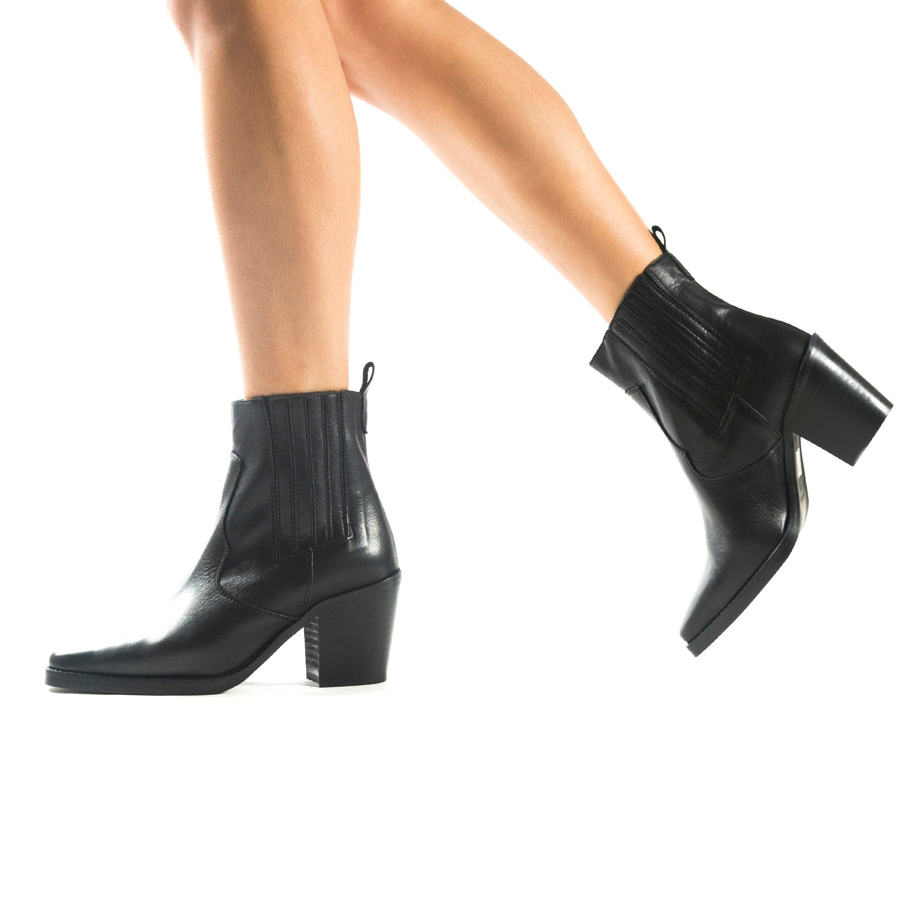 Valentina Black Leather Booties