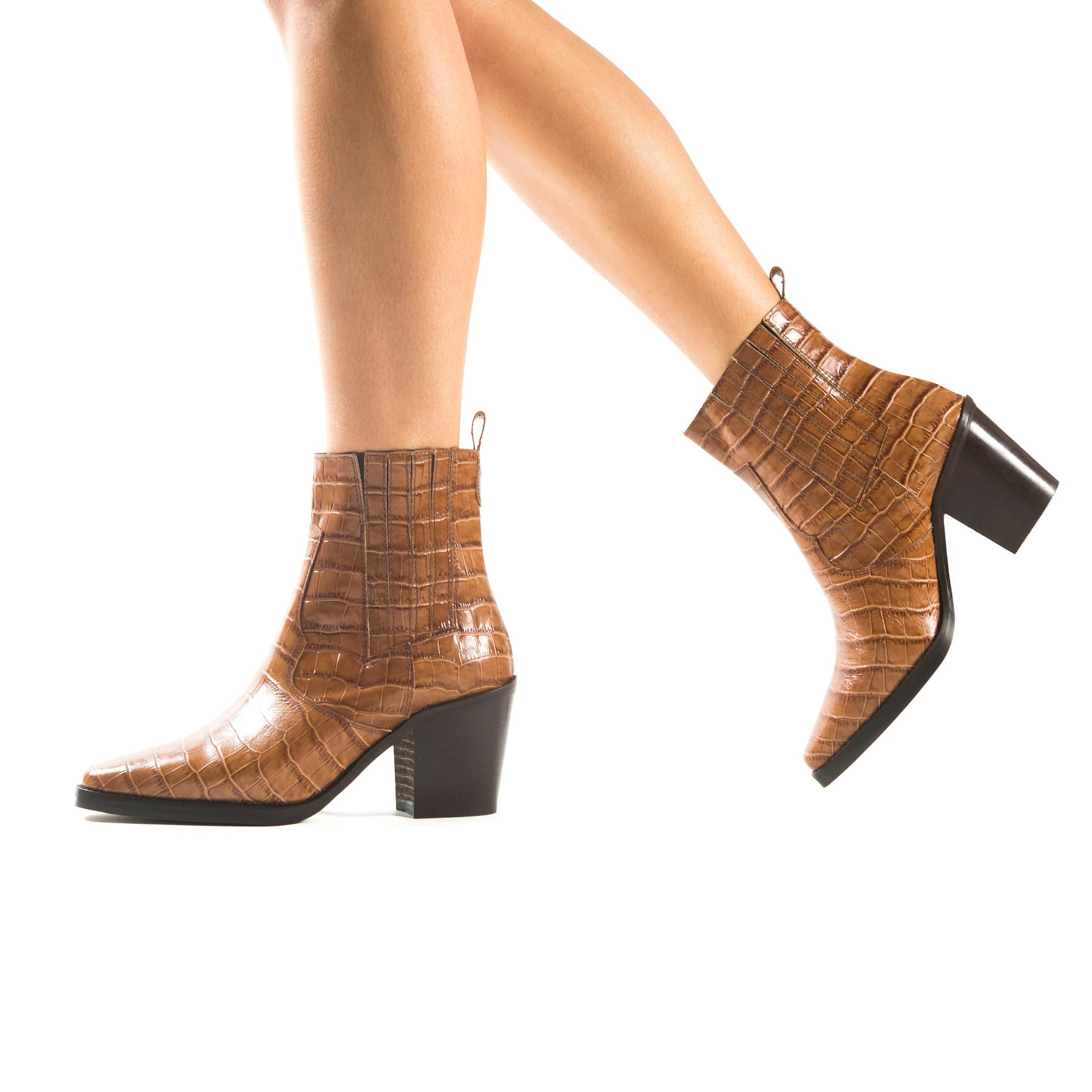 Valentina Tan Croco Booties