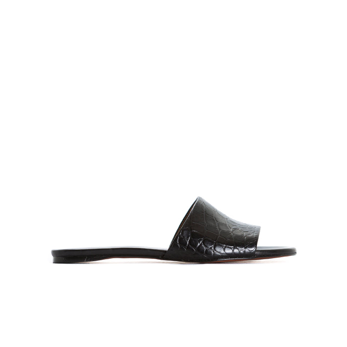 Varadero Black Croco Leather Sandals