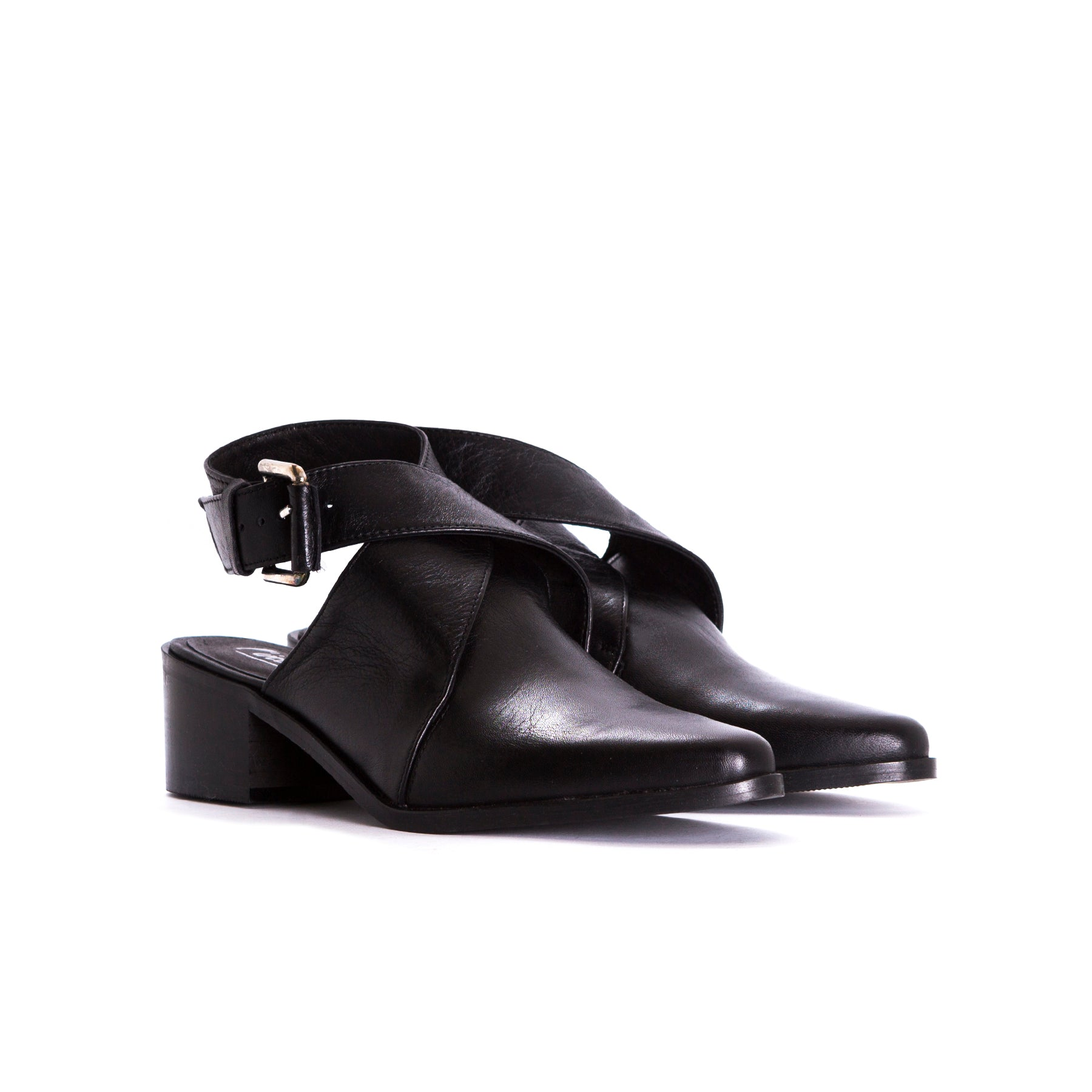 Vista Black Leather Mules