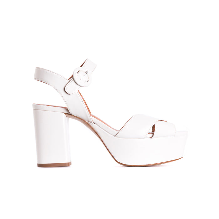 Whitney White Leather Sandals