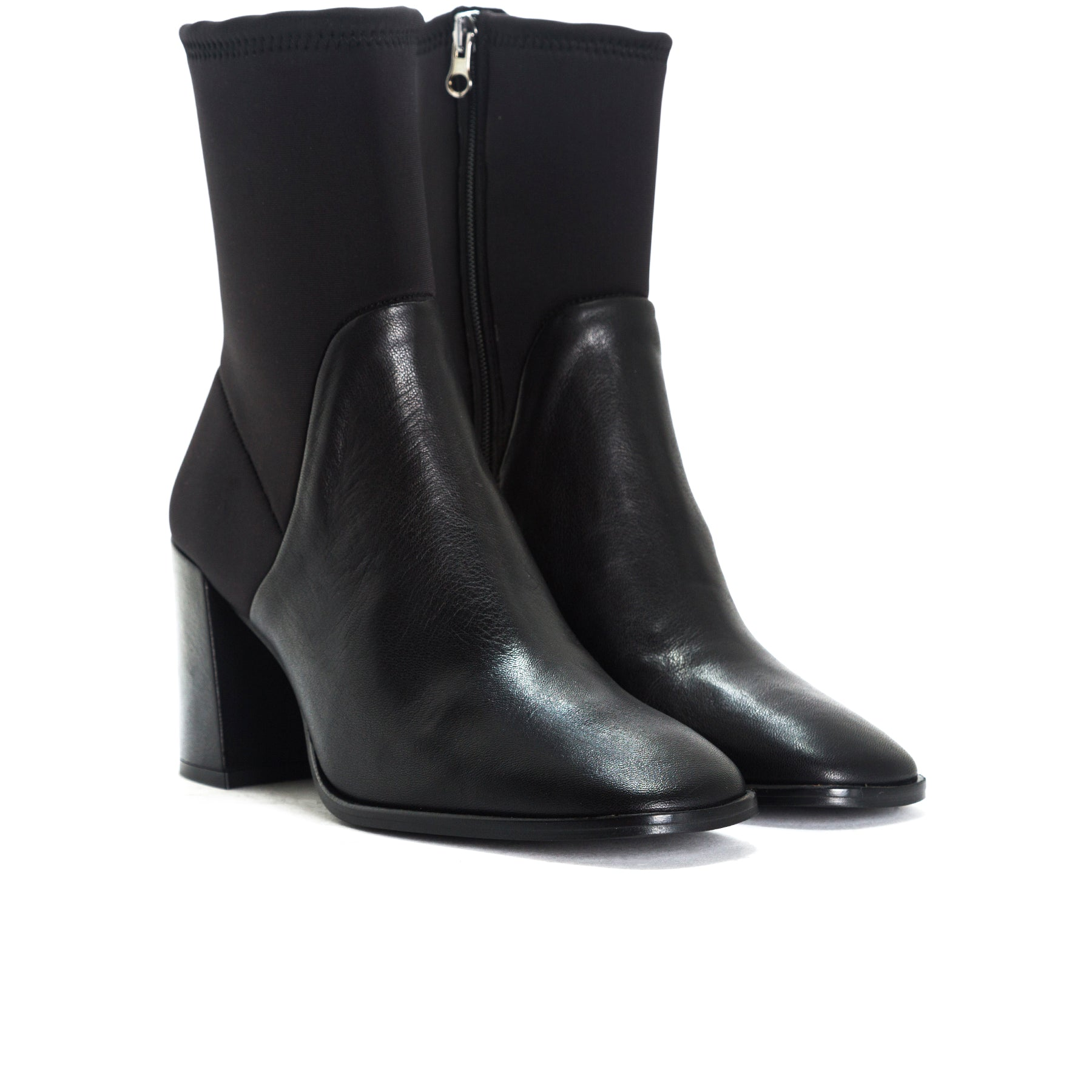 Zadar Black Leather/Neoprene Booties