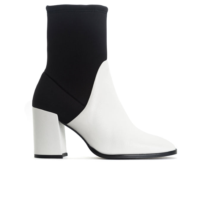 Zadar White Leather/Black Neoprene Booties