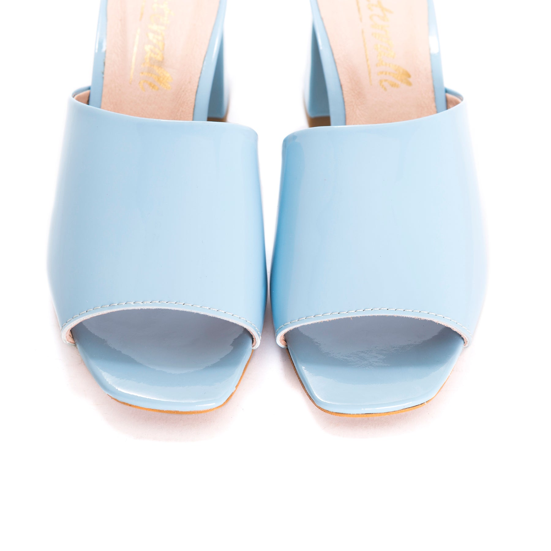 Zola Light Blue Patent Mules