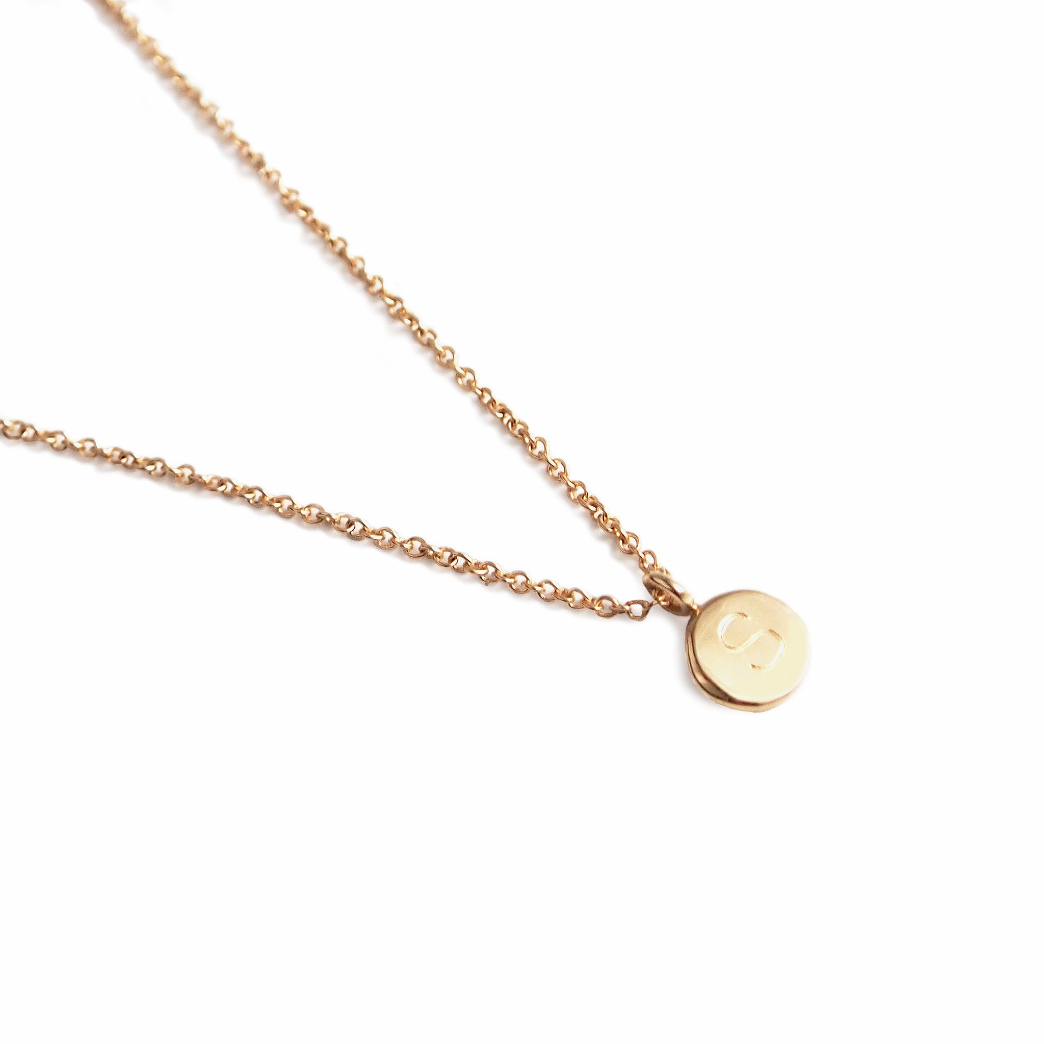 14k yellow gold initial necklace solid gold initial pendant gith reversible initial disc necklace yellow gold mozeypictures Gallery
