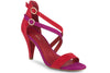 Klub Nico Arden sexy colorblock sandal in rich red and magenta colors is stunning.  A great mid heel sandal that is feminine and comfortable