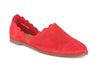 Georgette scalloped flat in rich red suede.  The perfect flat shoe.