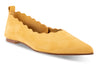 yellow pointed to flat shoe with scallop details