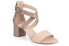 Klub Nico Raeyna colorblock sandal in romantic blush on a low block heel.  Perfect for any day to evening occasion.