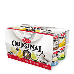 Astro Original Yogurt, Vanilla/Lemon/Lime/Coconut 12x100g