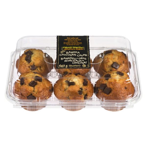 Farmers Market Banana Chocolate Chunk Muffin 6 Pk