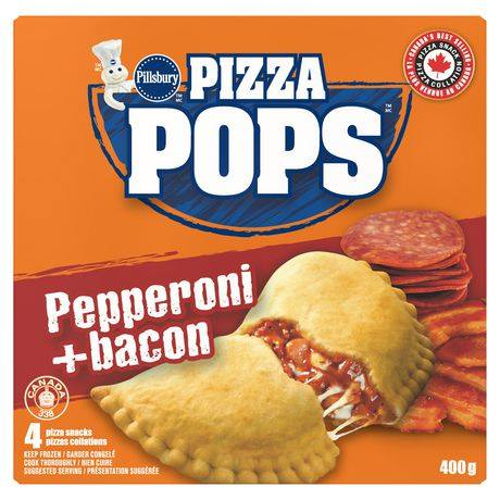 Pillsbury Frozen Pizza Pops, Pepperoni + Bacon 4 Pack 400G