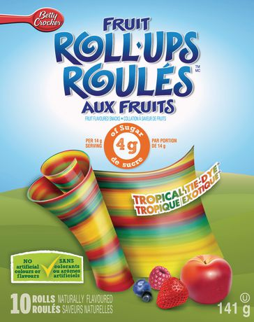 Betty Crocker Fruit Roll Ups Tropical Tie-Dye Fruit Flavoured Snacks 10 rolls, 141 g