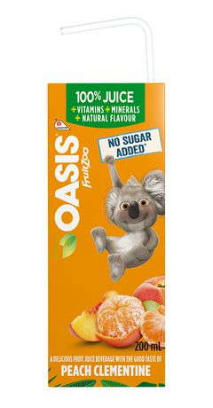 OASIS FRUIT ZOO PEACH/CLEMENTINE  VIT & MIN	8 X 200ML