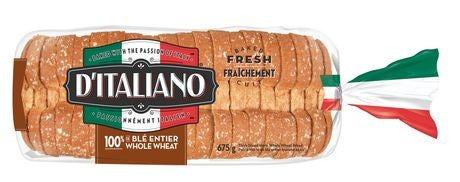 D'ITALIANO WHOLE WHEAT THICK SLICE BREAD 675 G