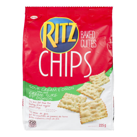 CHRISTIE RITZ BAKED CHIPS SOUR CREAM  & ONION	225 G