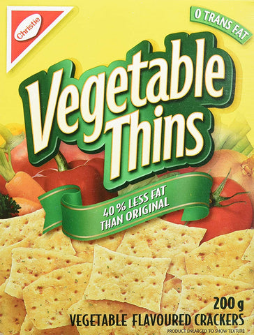 CHRISTIE CRACKERS LOW FAT VEGETABLE THINS	200 G