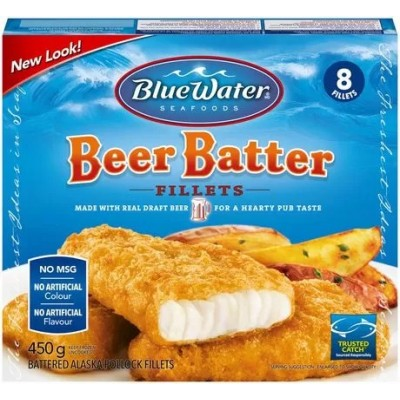 BLUEWATER BEER BATTER FISH FILLETS 450 g