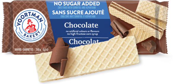 Voortman Wafers, Chocolate, No Sugar Added 250g