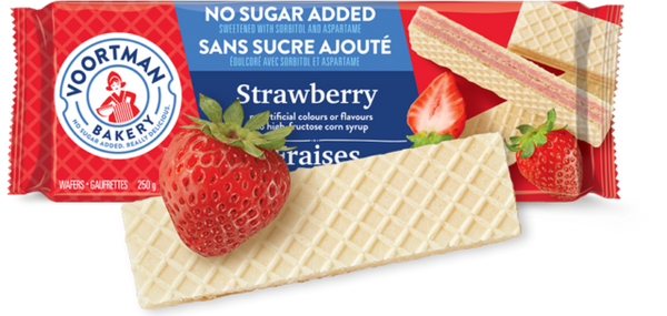 Voortman Wafers, Strawberry, No Sugar Added 250g