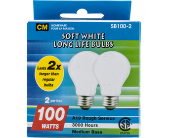 Cm Soft White 100W Lightbulbs 2 Pk