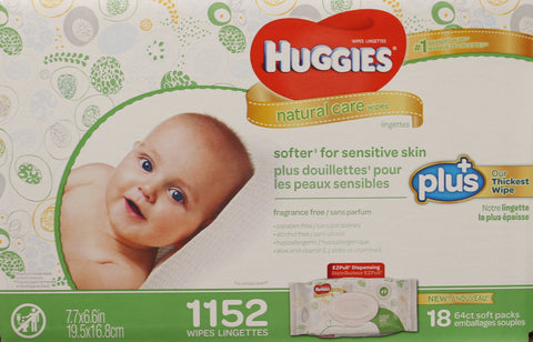 Huggies Natural Care Baby Wipes 18 x 64 1152 Wipes