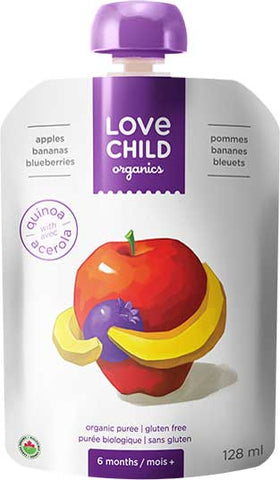 Love Child Organic's Apples, Bananas & Blueberries - Organic Purees 128 mL