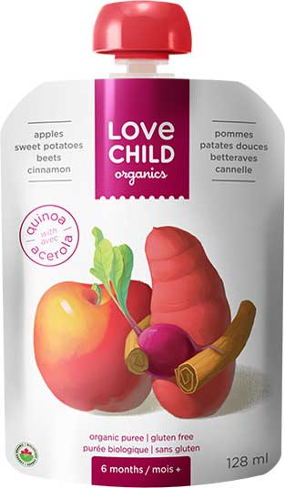 Love Child, Organic Apples, Sweet Potatoes, Beets & Cinnamon Pouch 128 mL