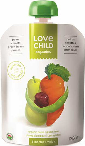 Love Child Organics Super Blends Baby Puree - Pears, Carrots, Green Beans & Prunes 128mL