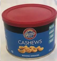 Crown Nut Unsalted Cashews	190 G