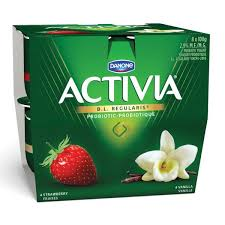 DANONE ACTIVIA STRAWBERRY/VANILLA 8 X 100G