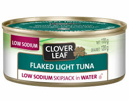 CLOVERLEAF FLAKED LIGHT TUNA LOW SODIUM IN WATER 120 G