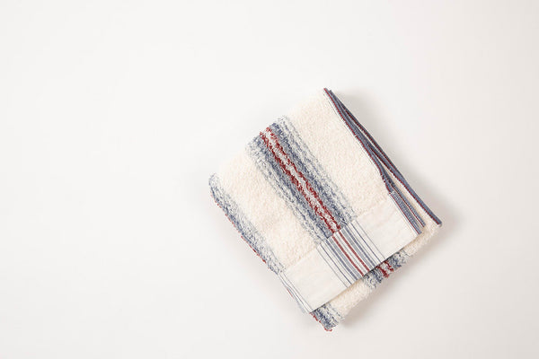Japanese Cotton Towel Blue and Red Stripe