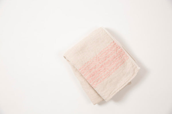 Japanese Cotton Towel Coral Stripe