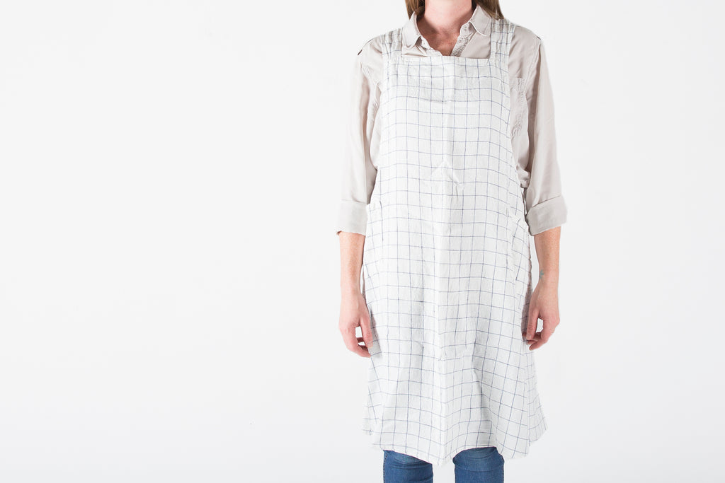 French Linen White Checked Farmhouse Apron