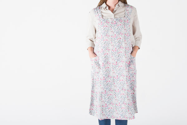 French Linen Pink Floral Farmhouse Apron