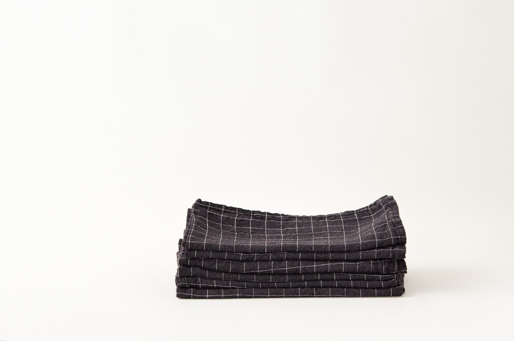 French Linen Black Check Napkins