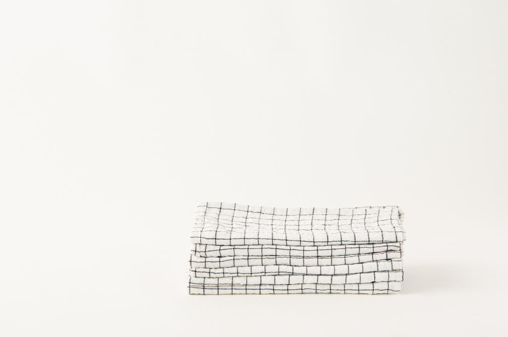 French Linen Black Grid Napkins
