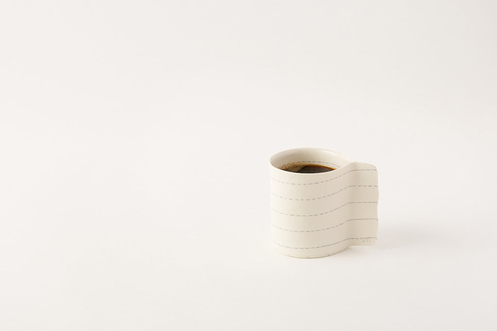 OVO Ceramic Striped Mug with Coffee