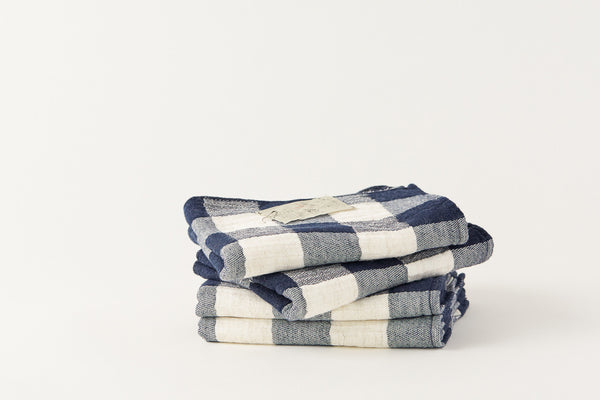 Japanese Cotton Towel Blue Check Kontex by Morihata