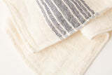 Morihata Linen Dark Blue Striped Towel Detail