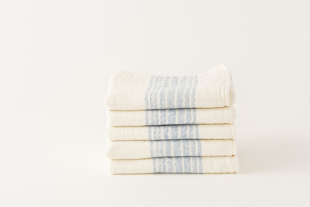 Morihata Linen Light Blue Striped Towel