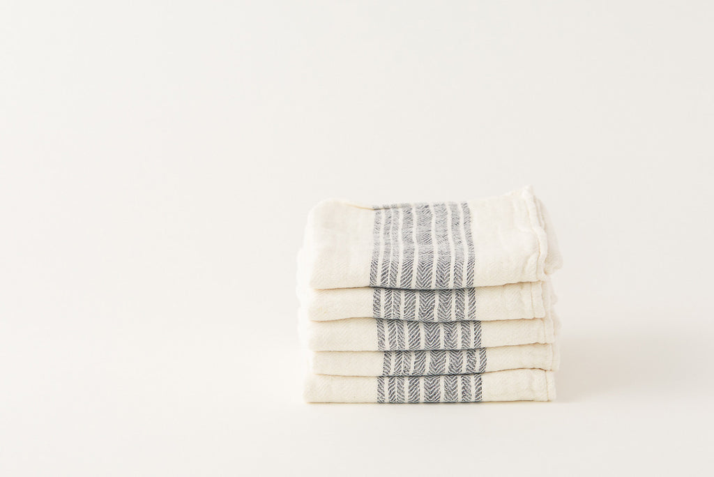 Morihata Linen Dark Blue Striped Towel